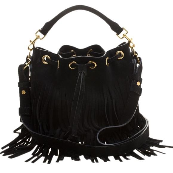61e8c53c52 Saint Laurent Black Suede Fringed Bucket Bag